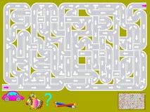 Jeu de puzzle de logique avec le labyrinthe Devez tirer la manière pour la voiture du début jusqu'à l'extrémité Images stock