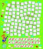 Jeu de puzzle de logique avec le labyrinthe Trouvez la manière pour l'anglais ABC du début jusqu'à l'extrémité et écrivez les let Image stock