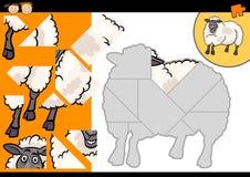 Jeu de puzzle de moutons de ferme de bande dessinée Image libre de droits