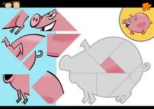 Jeu de puzzle de porc de ferme de bande dessinée Image libre de droits