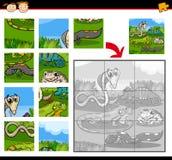 Jeu de puzzle denteux d'éducation de reptiles illustration libre de droits