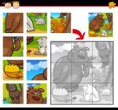 Jeu de puzzle denteux d'animaux de bande dessinée Images libres de droits