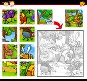Jeu de puzzle denteux d'insectes de bande dessinée Images libres de droits
