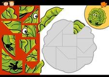 Jeu de puzzle denteux de chou de bande dessinée Photos libres de droits
