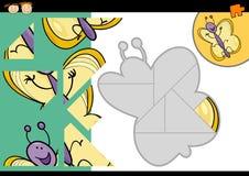 Jeu de puzzle denteux de papillon de bande dessinée Images libres de droits