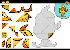 Jeu de puzzle denteux de poissons de bande dessinée Image libre de droits