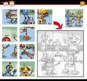 Jeu de puzzle denteux de robots illustration libre de droits