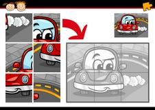 Jeu de puzzle denteux de voiture de bande dessinée Photo libre de droits