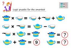 Jeu de puzzle de logique mathématique pour que la nécessité la plus futée calcule la valeur des plats Page imprimable pour le liv illustration libre de droits
