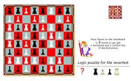 Jeu de puzzle de logique pour des chiffres de mouvement le plus futé sur l'échiquier dans 5 mouvements ainsi que vous obtenez 1 l illustration libre de droits