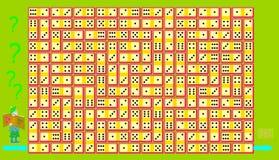 Jeu de puzzle de logique Trouvez le chemin du début jusqu'à l'extrémité suivant de la chaîne et respectant des règles des dominos Photographie stock libre de droits