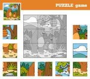 Jeu de puzzle pour des enfants avec des animaux (ours) Photo stock
