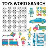 Jeu de recherche de mot de jouets pour des enfants Illustration de vecteur pour l'étude Photo libre de droits