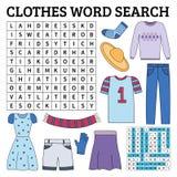 Jeu de recherche de mot de vêtements pour des enfants Images stock