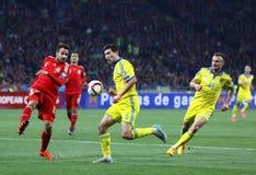 Jeu 2016 de série éliminatoire d'EURO de l'UEFA Ukraine contre l'Espagne Image libre de droits