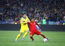 Jeu 2016 de série éliminatoire d'EURO de l'UEFA Ukraine contre l'Espagne Photos libres de droits