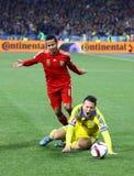 Jeu 2016 de série éliminatoire d'EURO de l'UEFA Ukraine contre l'Espagne Photographie stock libre de droits