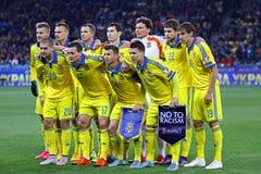 Jeu 2016 de série éliminatoire d'EURO de l'UEFA Ukraine contre l'Espagne Photographie stock