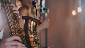 Jeu de saxophoniste sur le saxophone d'or Musicien de Professional d'artiste de jazz clips vidéos