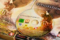 Jeu de stratégie d'ordinateur de la civilisation VI de Sid Meier Photographie stock