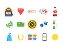 Jeu de jeu de symbole réglé de casino Vecteur Illustration Stock
