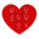 Jeu de tep de Tic tac avec le symbole de sexe Photos stock