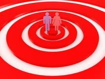 Jeu des dards avec des signes mâles et femelles. image 3D illustration stock