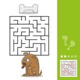 Jeu drôle pour l'éducation d'enfants labyrinthe Aidez la bande dessinée pour poursuivre pour trouver l'os Photographie stock
