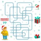 Jeu drôle de labyrinthe de Noël Images libres de droits