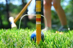 Jeu du jeu de croquet Images stock