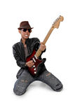 Jeu expressif de guitariste solo image libre de droits