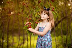 Jeu heureux de petite fille pr?s de cerisier dans le jardin d'?t? Cerise de cueillette d'enfant ? la ferme de fruit Cerises de sé photographie stock