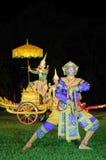 Jeu masqué classique thaïlandais au parc historique de Phimai, Thaïlande Photographie stock