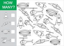 Jeu mathématique pour des enfants Comptez combien d'objets de transport aérien illustration libre de droits