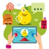 Jeu mobile virtuel abstrait de vecteur Illustration colorée de bande dessinée de style plat Photographie stock