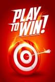 Jeu pour gagner la carte de citation, l'illustration brûlante blanche et rouge de cible, le sport ou la réussite commerciale Photo libre de droits