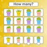 jeu pour les enfants préscolaires Comptez autant de pots de fleur dans la photo et notez le résultat Avec un endroit pour des rép photo stock