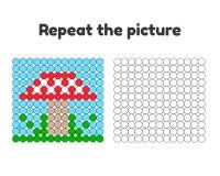 jeu pour les enfants préscolaires Répétez la photo Peignez les cercles Agaric de mouche à champignon Photos libres de droits