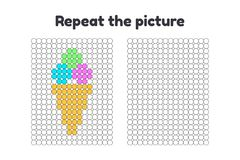 jeu pour les enfants préscolaires Répétez la photo Peignez les cercles boules de crème glacée dans un cône Images stock