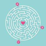 Jeu rond de labyrinthe de labyrinthe Concept de l'amour Photographie stock