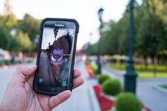 Jeu sur le smartphone Photo libre de droits