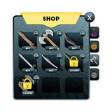 Jeu UI Stockez l'écran avec le choix des sujets pour des armes d'attaque, de défense, de force, et de plus pour concevoir le mobi illustration stock
