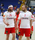 Jeu Ukraine v Danemark de handball de qualificateurs de l'EURO 2020 d'EHF image libre de droits