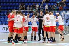 Jeu Ukraine v Danemark de handball de qualificateurs de l'EURO 2020 d'EHF photos stock
