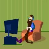 Jeu vidéo de jeu d'homme, Guy Hold Gaming Console barbu Photographie stock libre de droits