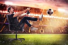 Jeu vidéo réaliste du football Image stock