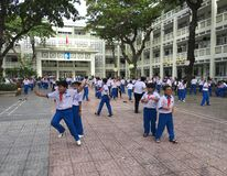 Jeu vietnamien d'écoliers dans la cour d'école images libres de droits