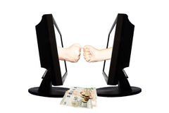 Jeu virtuel par forme de main d'Internet de la pierre de papier de ciseaux sur le fond blanc avec l'argent - concept 3 d'affaires Photos libres de droits