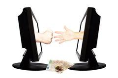 Jeu virtuel par forme de main d'Internet de la pierre de papier de ciseaux sur le fond blanc avec l'argent - concept 4 d'affaires Image libre de droits