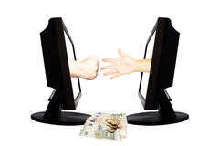Jeu virtuel par forme de main d'Internet de la pierre de papier de ciseaux sur le fond blanc avec l'argent - concept 4 d'affaires Images libres de droits